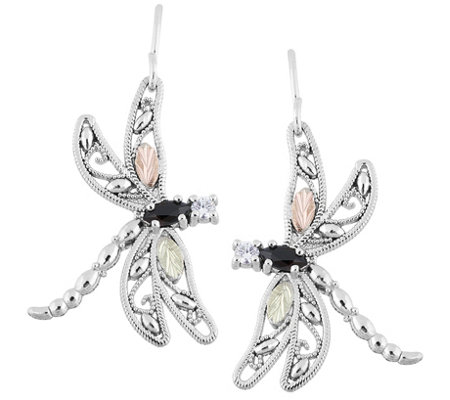 Black Hills Dragonfly Earrings, Sterling/12K