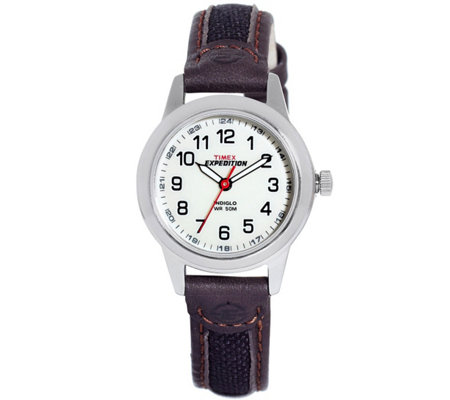 Timex Ladies Expedition Watch with Brown Leather Mesh Strap