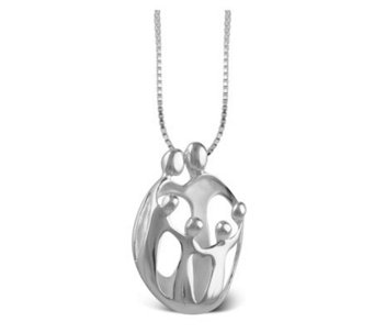 Personalized Sterling 2 Parent & 4 Child LovingFamily Pendant - J108050