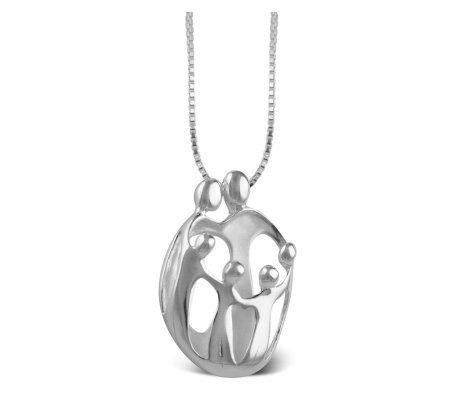 Personalized Sterling 2 Parent & 4 Child LovingFamily Pendant