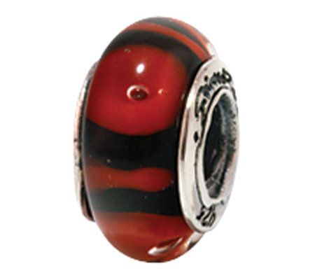 Prerogatives Sterling Red and Black Glass Bead
