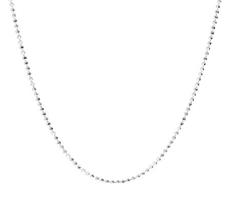 "UltraFine Silver 30"" Diamond Cut Bead Chain, 8.8g"