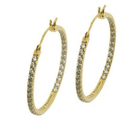 "Diamonique Inside-Out 1"" Hoop Earrings, 14K Gold"