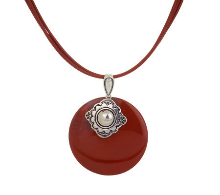 Southwestern Sterling Red Jasper Pendant on Adjustable Cord