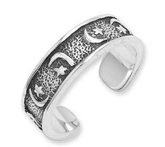 Sterling Silver Antiqued Moon and Stars Toe Ring - J111650