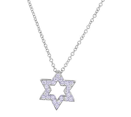 Diamonique Star of David Pendant w/ Chain, Platinum Clad
