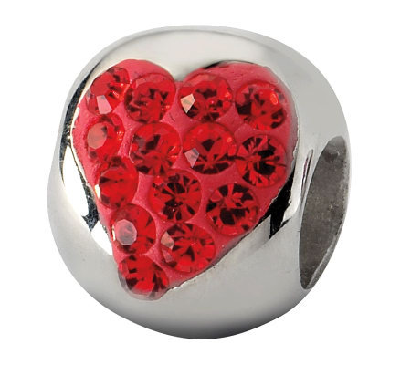 Prerogatives Sterling Red Crystal Small Heart Bead