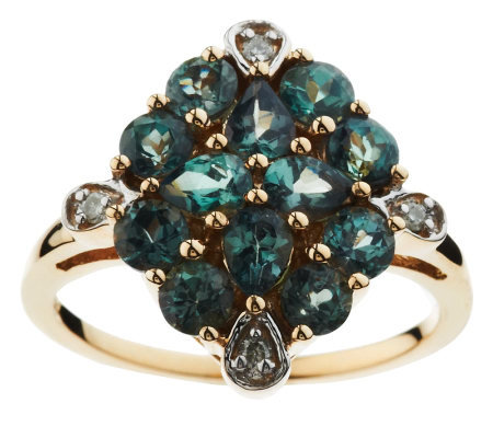 1.50 ct tw Round and Pear Alexandrite Cluster Ring, 14K