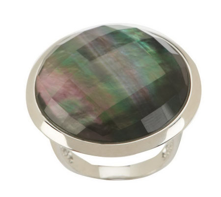 Honora Mother-of-Pearl Round Faceted Doublet Sterling Ring