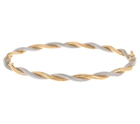 "EternaGold 7"" Two-tone Twist Bangle Bracelet, 14K"