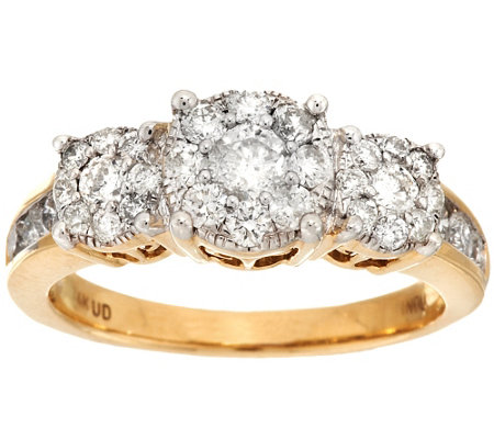 3-Stone Cluster Design Diamond Ring, 14K Gold 1.00 cttw by Affinity