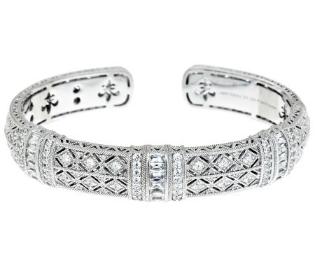 Judith Ripka Sterling Estate Pia 3 10cttw Skinny Diamonique Cuff