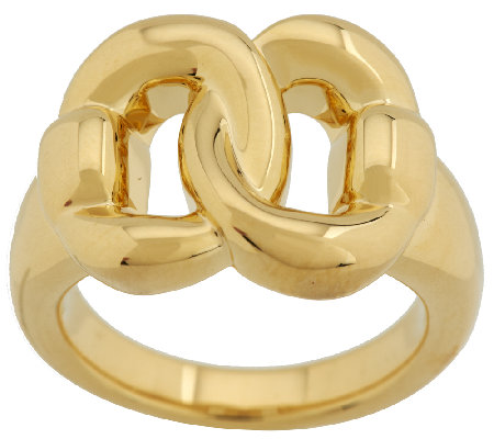 Oro Nuovo Polished Interlocking Status Link Ring, 14K