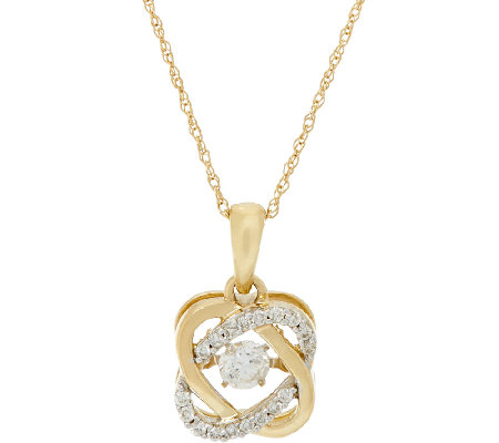 Halo Dancing Diamond Pendant w/ Chain, 14K, 1/4 cttw, by Affinity
