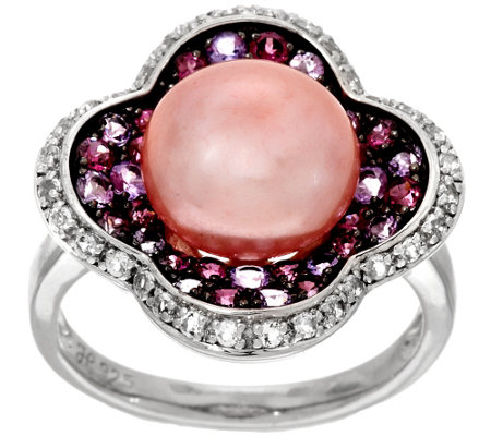 Honora Cultured Pearl 10.5mm & Multi-gemstone Sterling Ring