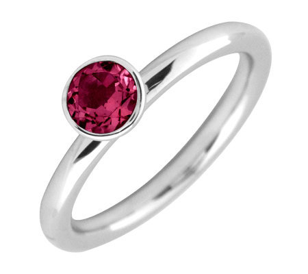 Simply Stacks Sterling 5mm Round Created Ruby Solitaire Ring