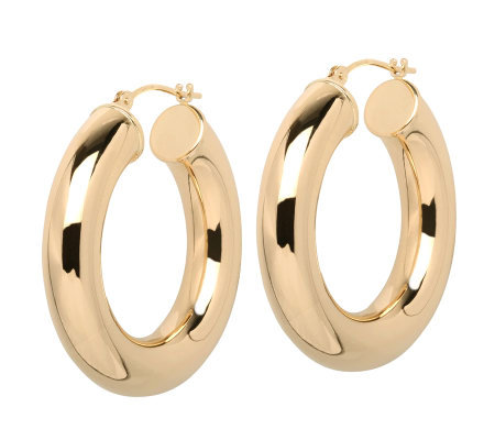 "EternaGold 1-1/8"" Bold Polished Hoop Earrings,14K Gold"