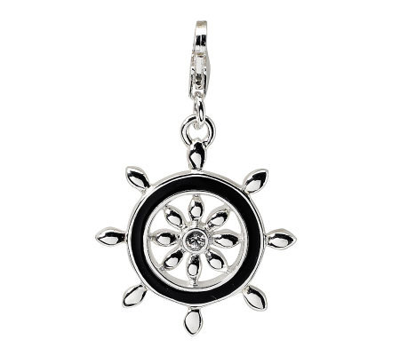 Amore La Vita Sterling Swarovski Crystal Ship Wheel Charm