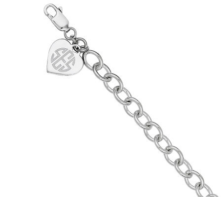 Sterling Personalized Heart Charm Link Bracelet