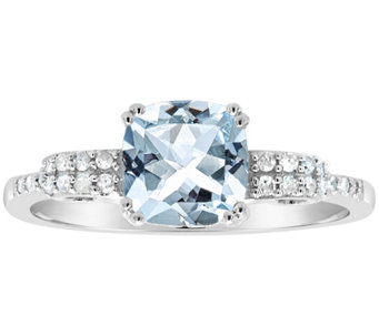 1.00 ctw Aquamarine & 1/10 cttw Diamond Ring, Sterling - J311550