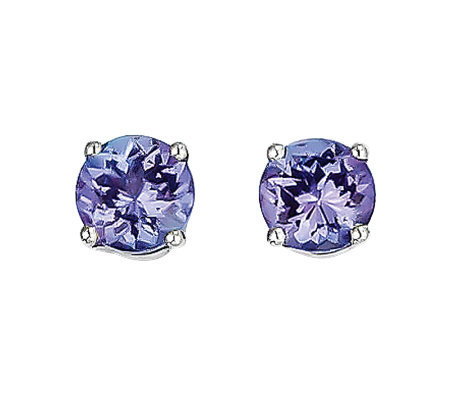 1.10ct tw Tanzanite Round Post Earrings, 14K White Gold