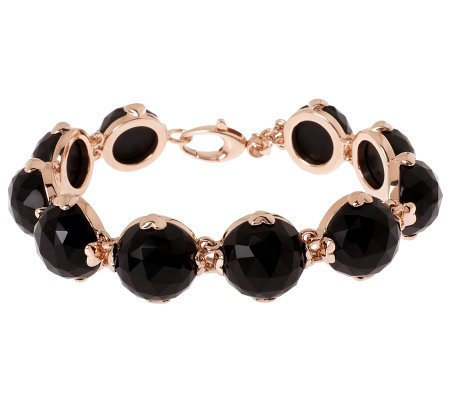 "Bronze 7-3/4"" Faceted Onyx Bracelet by Bronzo Italia"