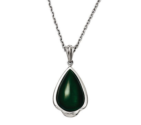 "Stainless Steel 20"" Synthetic Green Cat's-Eye Necklace"