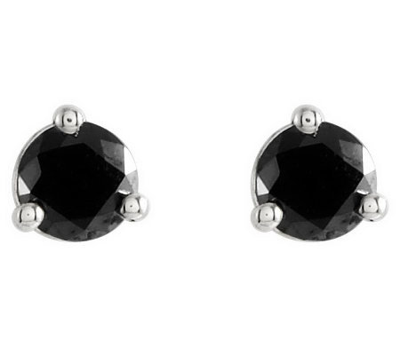 Black Diamond Stud Earrings, 14K Gold, 3/4 cttwby Affinity