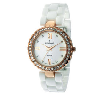 Peugeot Women's White Ceramic Swarovski CrystalWatch - J313850