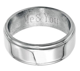 Stainless Steel 8mm Ridged Edge Polished Engravable Ring - J314250