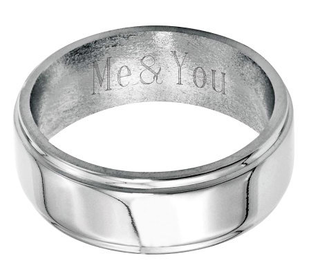 Stainless Steel 8mm Ridged Edge Polished Engravable Ring