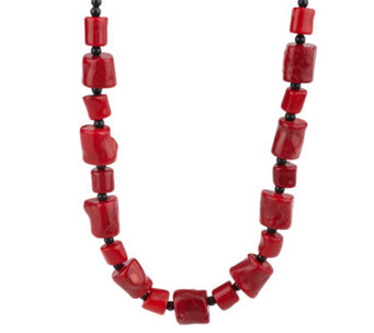 "Lee Sands Free-Form Shape Coral Bead 17"" Adjustable Necklace - J315050"