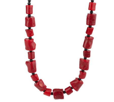 "Lee Sands Free-Form Shape Coral Bead 17"" Adjustable Necklace"
