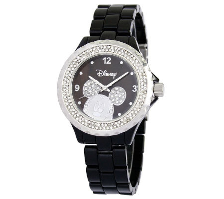 Disney Women's Mickey Black Enamel Watch