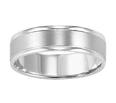 6.0mm Men's Comfort Fit Wedding Band, 14K WhiteGold