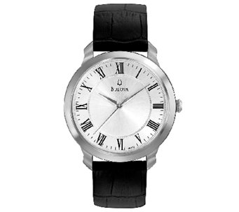 Bulova Men's Stainless Steel Black Leather Strap Watch - J316450
