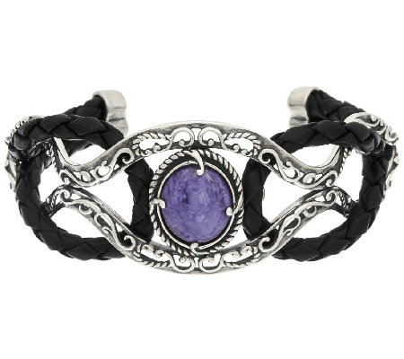 Carolyn Pollack Sterling Silver Charoite & Leather Cuff