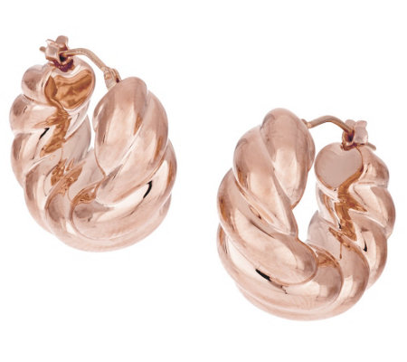 Oro Nuovo Graduated Bold Twist Hoop Earrings