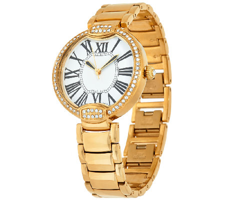 Bronze Pave' Crystal Bezel Round Panther Link Watch by Bronzo Italia