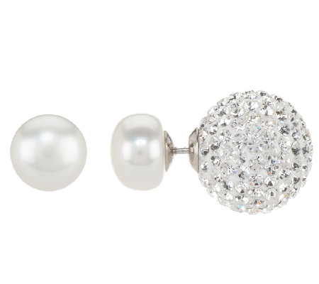 Honora 9.0mm Cultured Pearl & Crystal Double Sided Stud Earrings