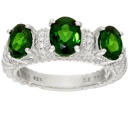 Judith Ripka Sterling_2.50 cttw Triple Chrome Diopside Ring
