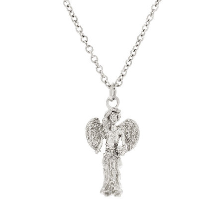 "Stainless Steel ""My Good Angel"" Pendant with 18"" Chain"