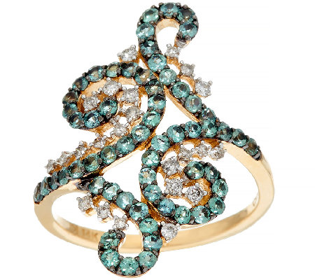 Alexandrite & Diamond Lace Design Ring 14K Gold 1.00 cttw