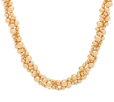 "EternaGold 18"" Bold Beaded Torsade Necklace 14K Gold, 25.8g"