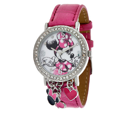 Disney Mickey or Minnie Charm Watch in Collectible Box