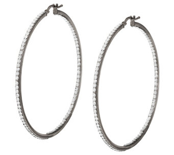 """As Is"" Vicenza Silver Sterling 2-1/4"" Inside- Out Crystal Hoop Earrings - J327350"