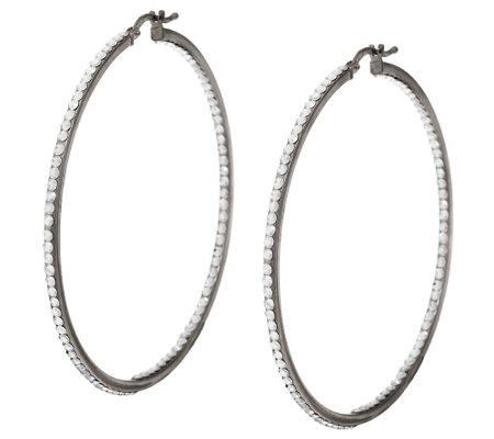 """As Is"" Vicenza Silver Sterling 2-1/4"" Inside- Out Crystal Hoop Earrings"
