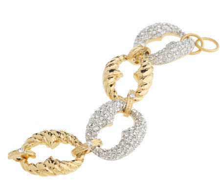 """As Is"" Isaac Mizrahi Live! Bold Texture & Pave' Link Bracelet"