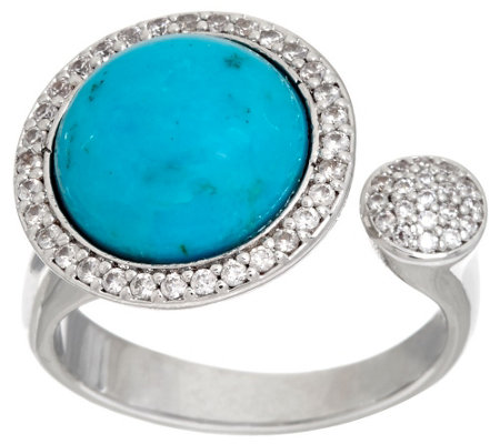 """As Is"" Vicenza Silver Sterling Turquoise & Crystal Cuff Ring"