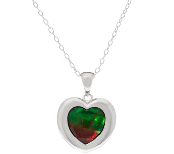 "Ammolite Triplet Heart Cut Sterling Silver Pendant on 18"" Chain - J329450"